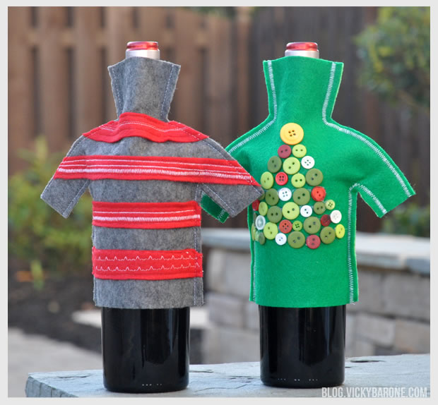 DIY Holiday Wine Bottle Sweaters