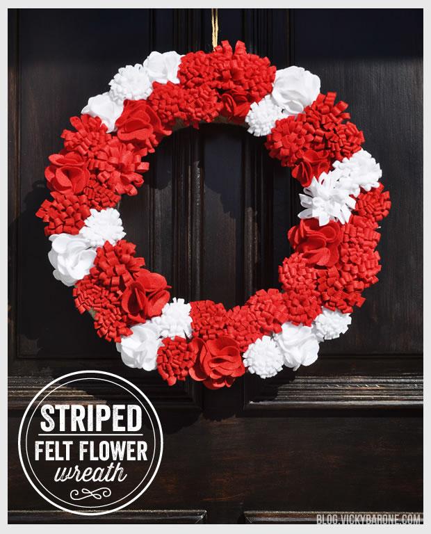 Felt Flower Christmas Wreath DIY