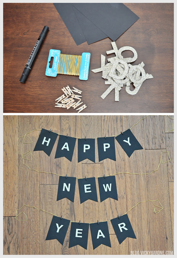 diy happy new year garland