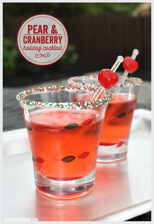 Pear cranberry holiday cocktail vicky barone for Pear vodka mixed drinks