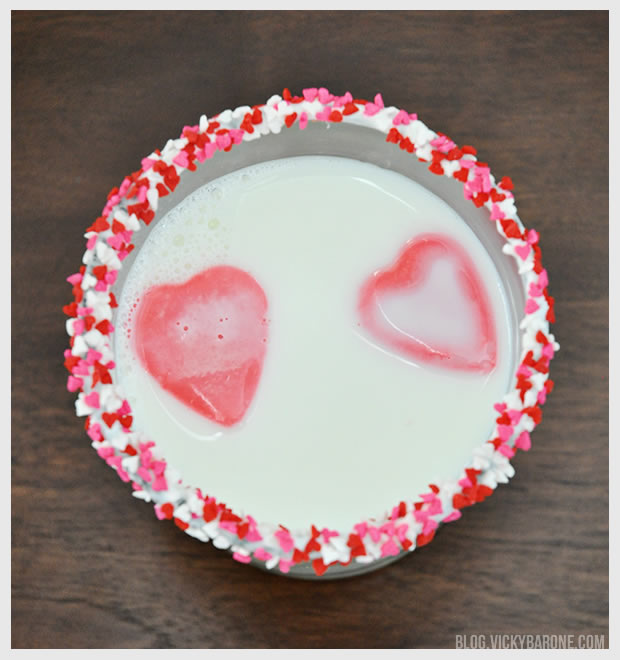 Heart-Shaped Pink Milk Cubes for Valentine's Day | Vicky Barone