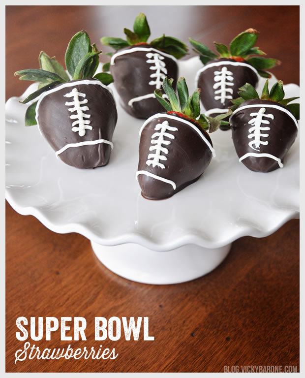 Chocolate Covered Super Bowl Football Strawberries | Vicky Barone