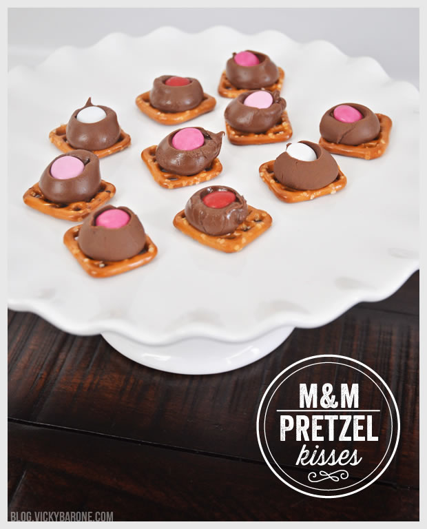 M&M Pretzel Kisses for Valentine's Day | Vicky Barone