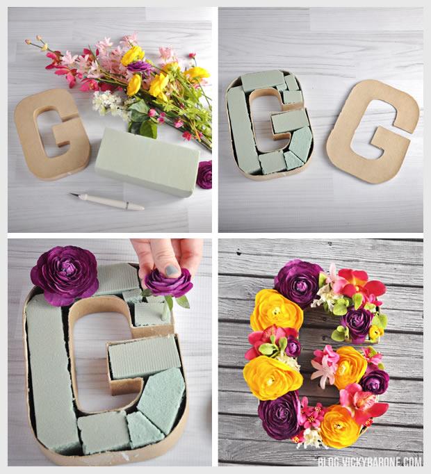 DIY Floral Monogram | Vicky Barone