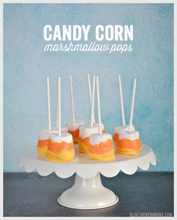 Candy Corn Marshmallow Pops | Vicky Barone