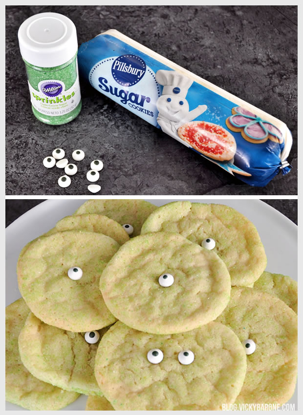3 Ingredient Monster Eye Sugar Cookies | Vicky Barone