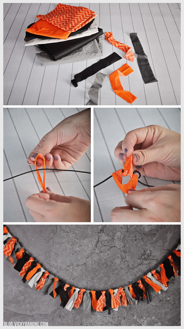 DIY Halloween Fabric Scrap Garland   Vicky Barone