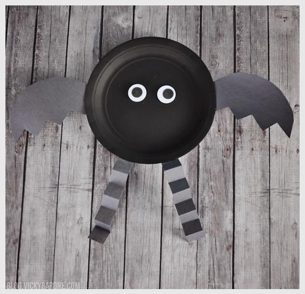 Paper Plate Halloween Bat Craft | Vicky Barone & Paper Plate Halloween Characters - Vicky Barone