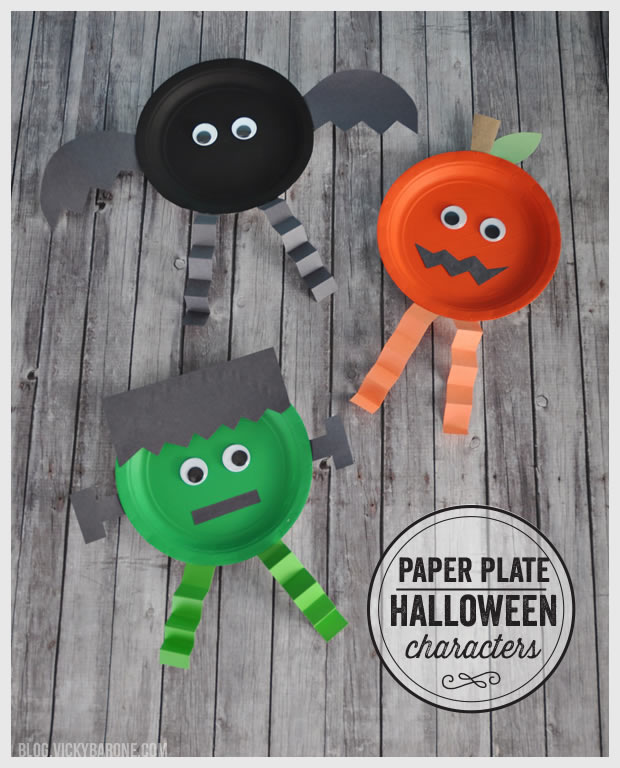 easy halloween crafts for kids paper plate characters barone 6520
