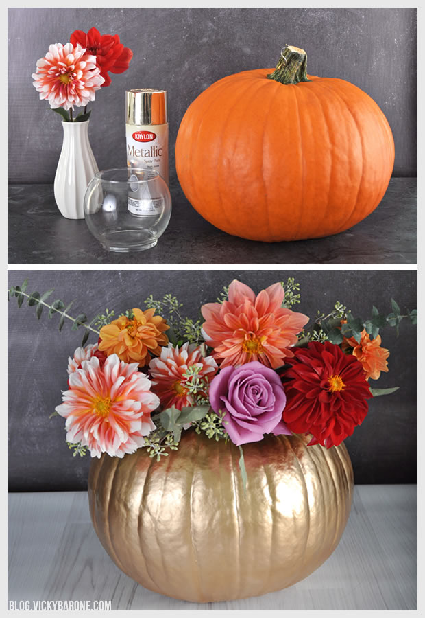 DIY Metallic Pumpkin Planter | Vicky Barone