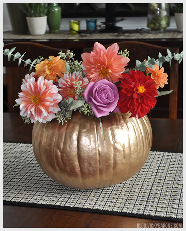 DIY Metallic Pumpkin Planter Centerpiece | Vicky Barone