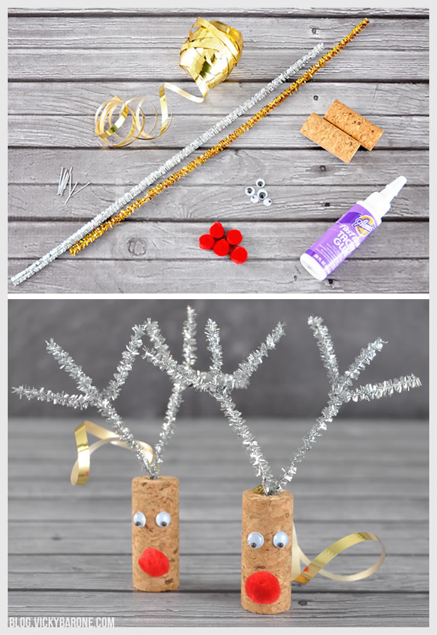 DIY Cork Reindeer Ornaments | Vicky Barone