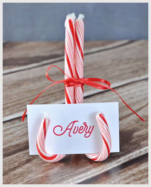 DIY Candy Cane Place Card Holder | Vicky Barone