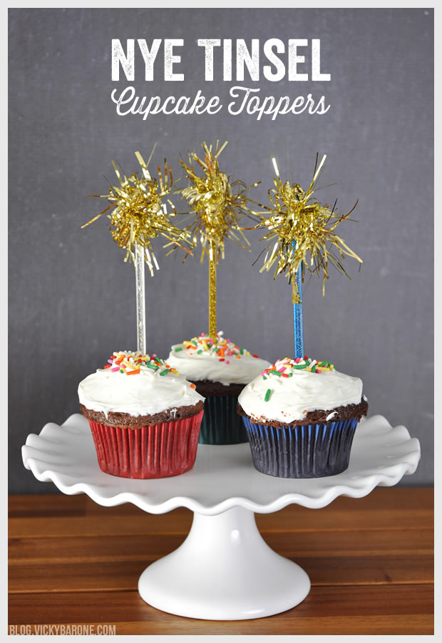 NYE Tinsel Cupcake Toppers | Vicky Barone