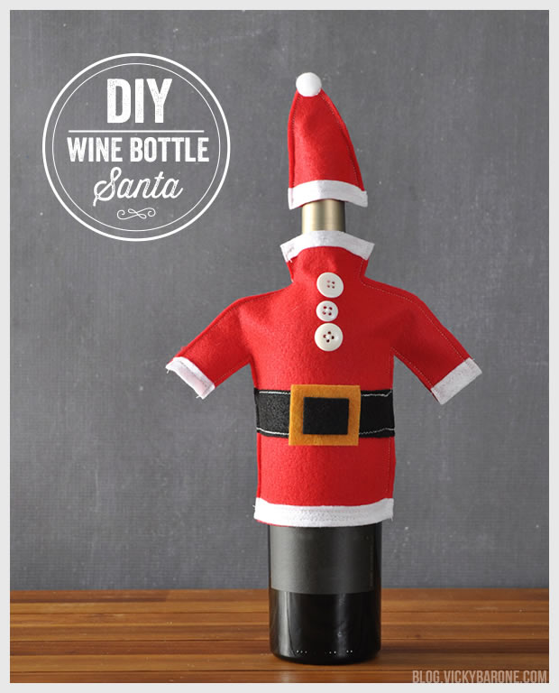 DIY Wine Bottle Santa | Vicky Barone