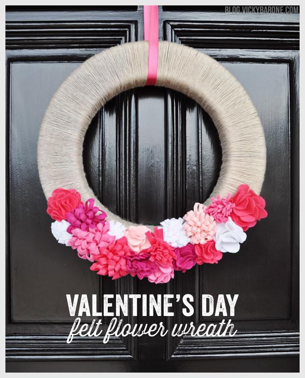 Valentine's Day Felt Flower Wreath   Vicky Barone