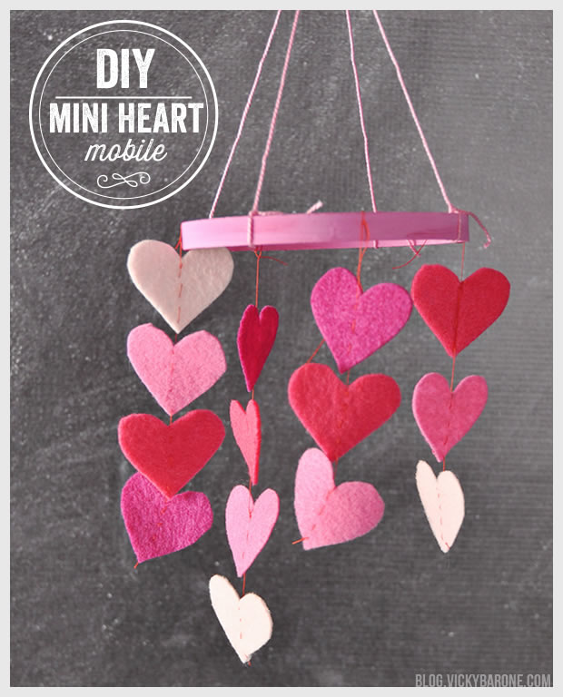 DIY Mini Heart Mobile | Vicky Barone