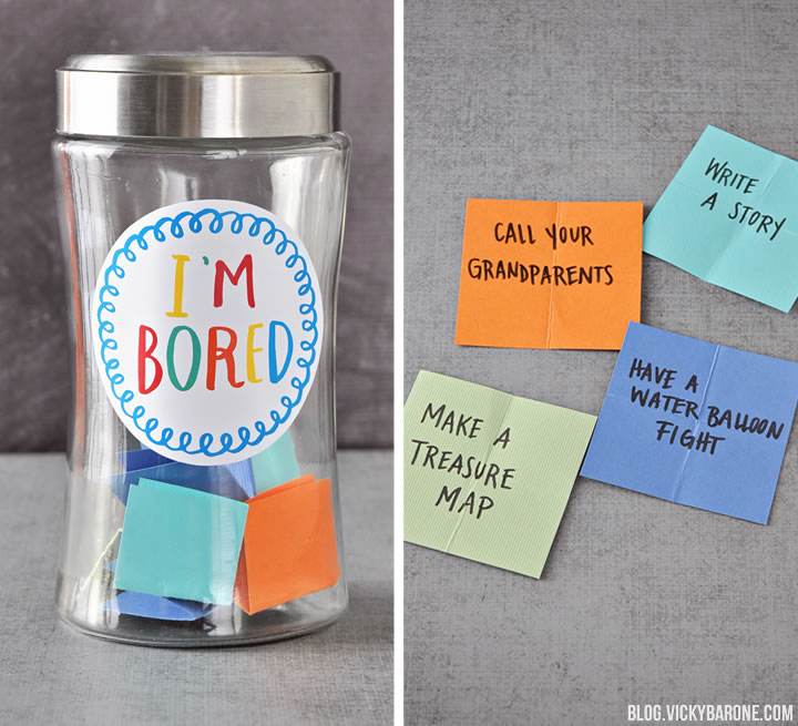 """I'm Bored"" Kids Summer Activity Jar + A Free Printable 