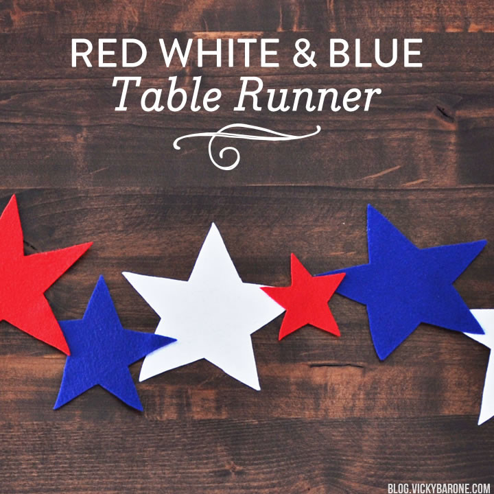 Red White and Blue Felt Star Table Runner | Vicky Barone
