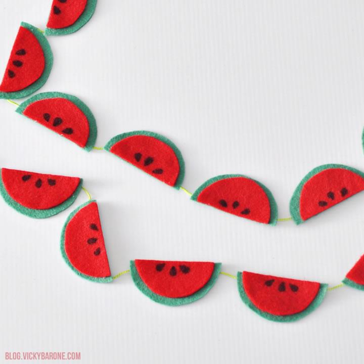 DIY Felt Watermelon Garland | Vicky Barone