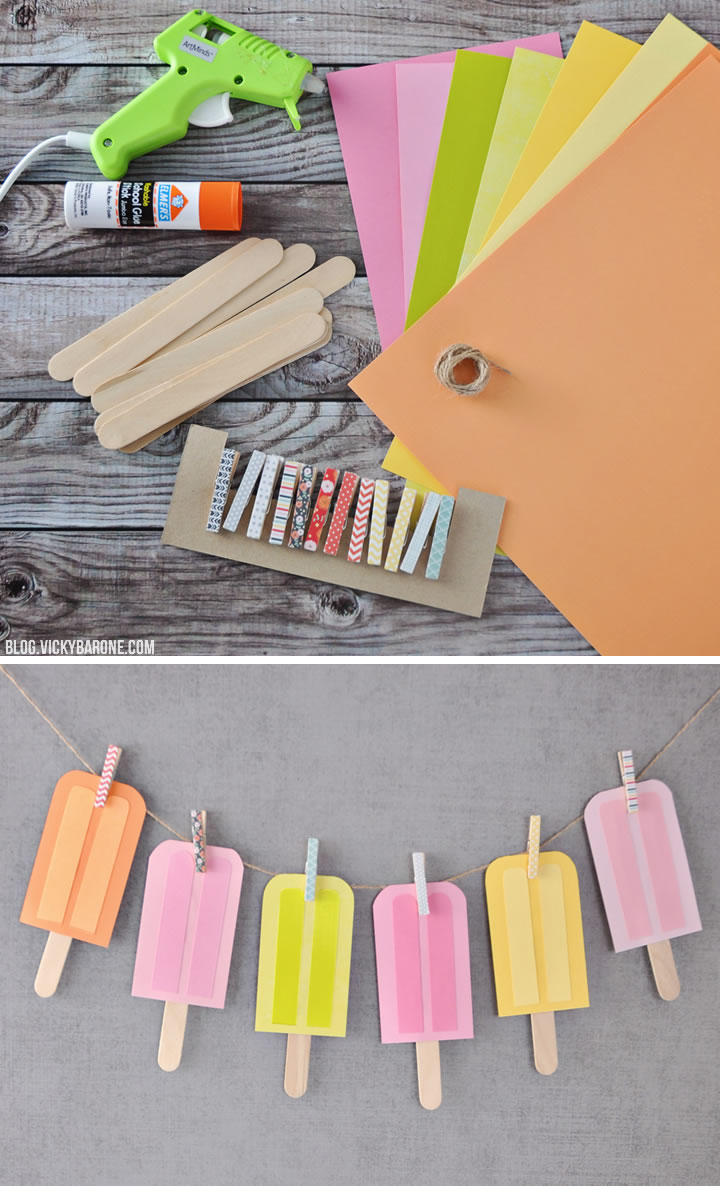 DIY Paper Popsicle Garland | Vicky Barone