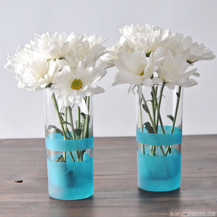 DIY Frosted Glass Vases | Vicky Barone