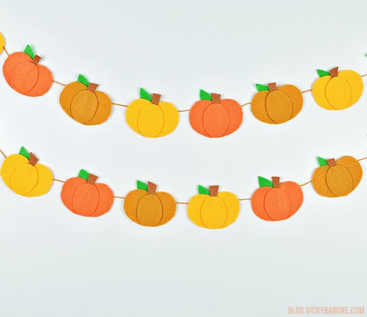 Felt Pumpkin Garland DIY | Vicky Barone