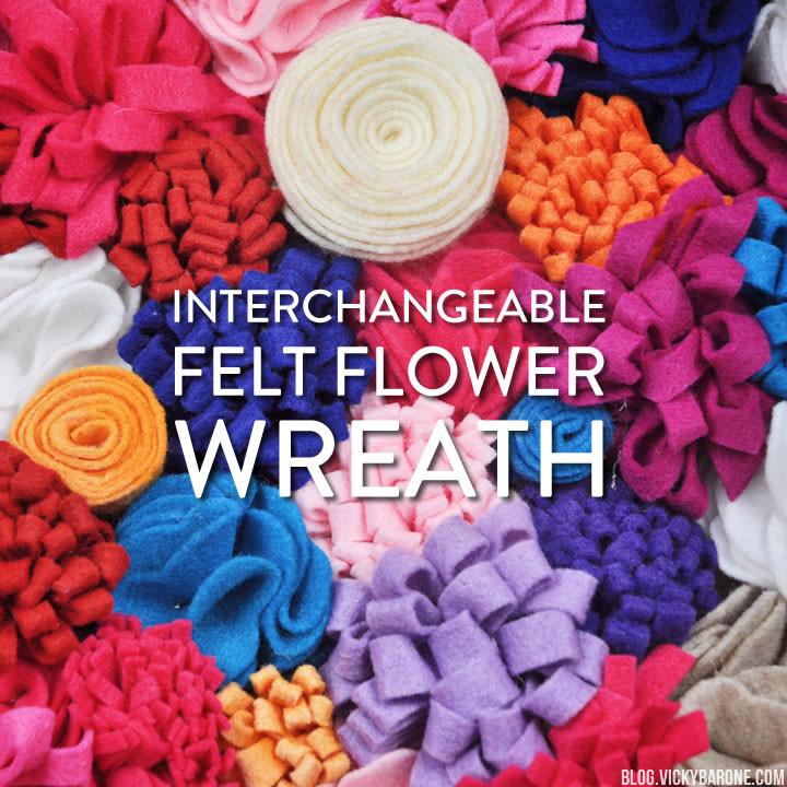 Interchangeable Felt Flower Wreath | 9 Ways | Seasonal Wreath | Vicky Barone