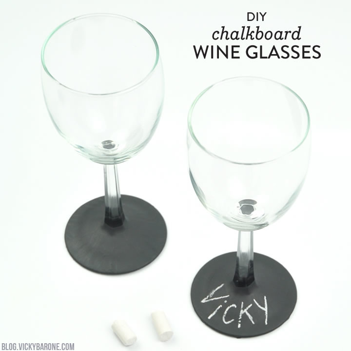 DIY Chalkboard Wine Glasses | Vicky Barone