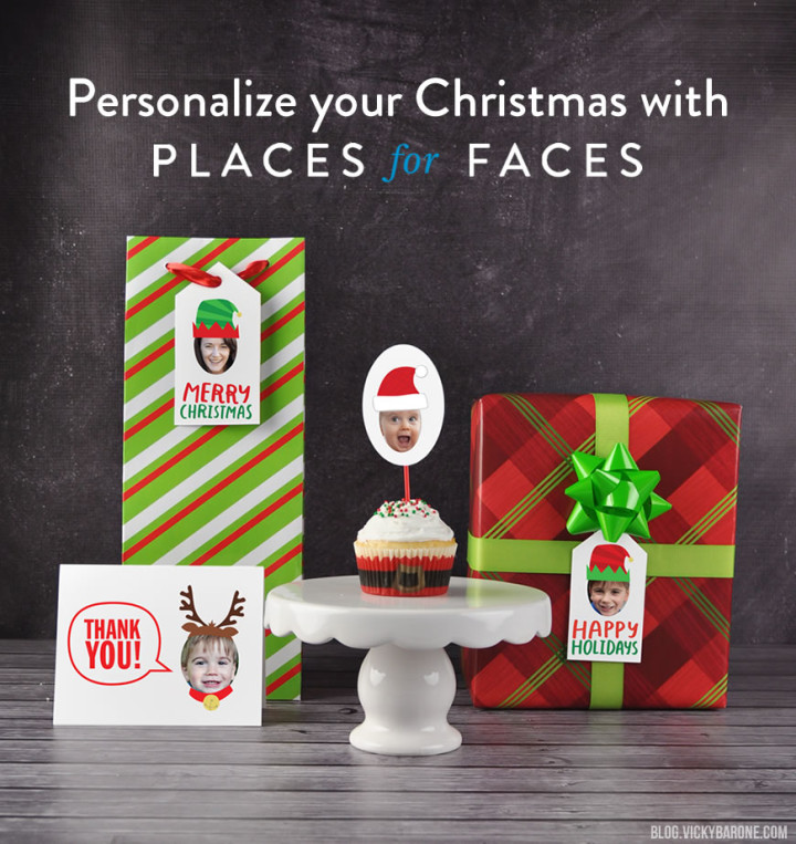 Personalize Your Christmas with Places for Faces | Vicky Barone | Personalized Custom gift tags, cupcake toppers, thank you notes