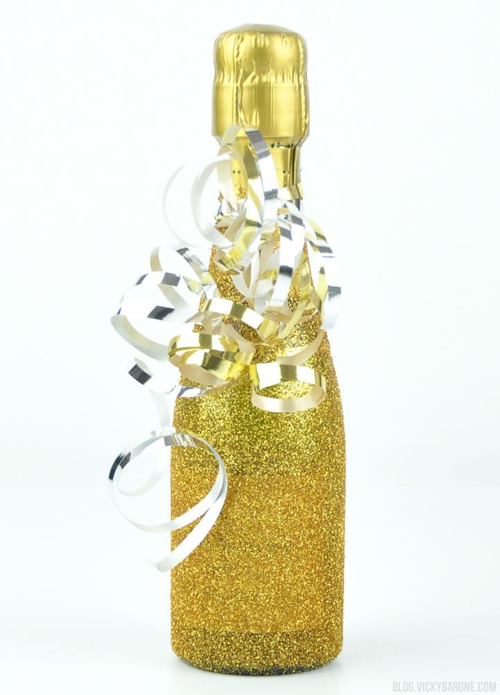 Diy glitter champagne bottles vicky barone for How to glitter wine bottles