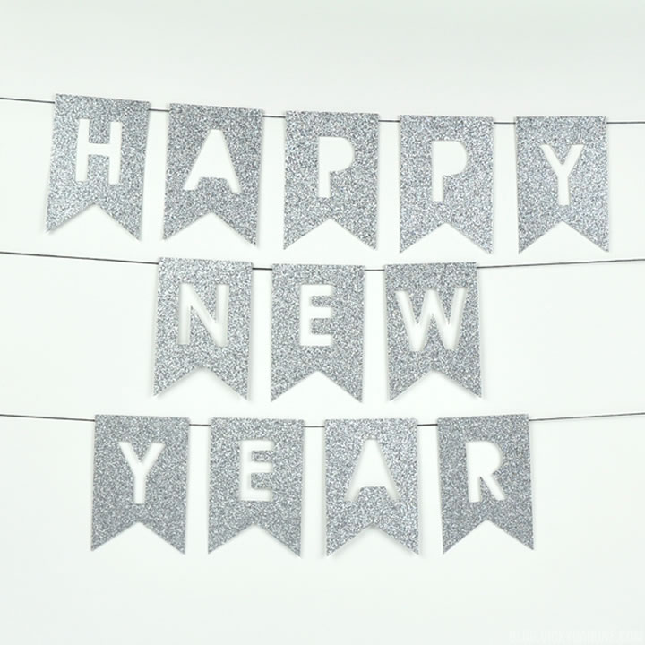 DIY Happy New Year Glitter Garland | Vicky Barone