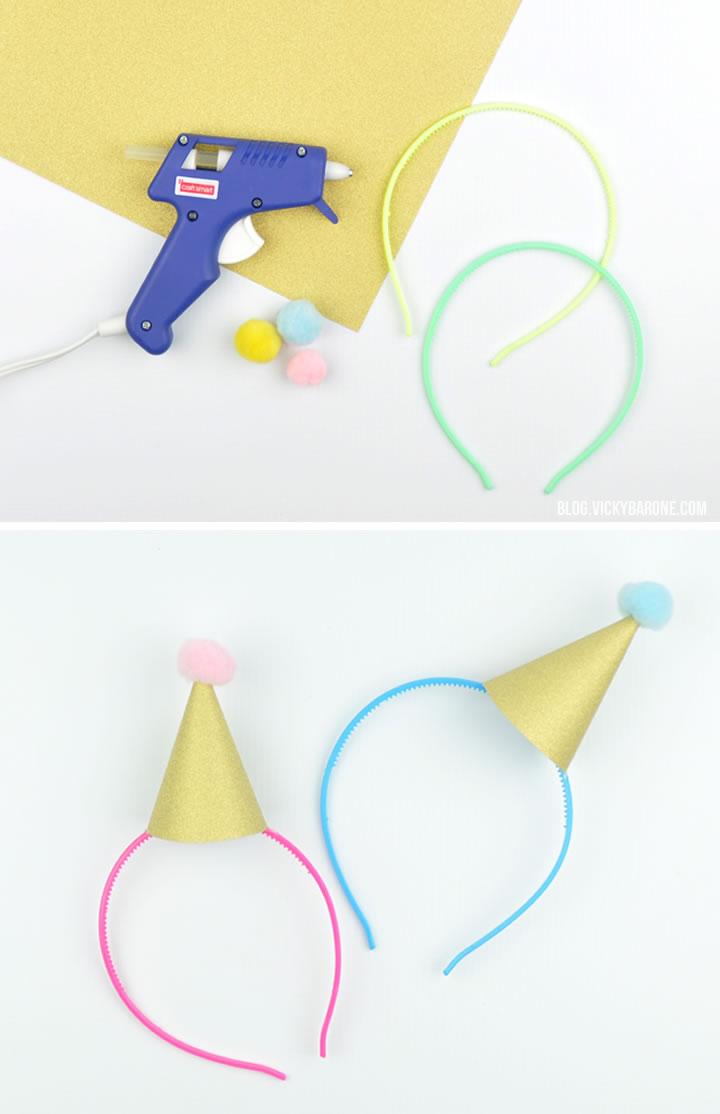 DIY Mini Party Hat Headbands | Vicky Barone