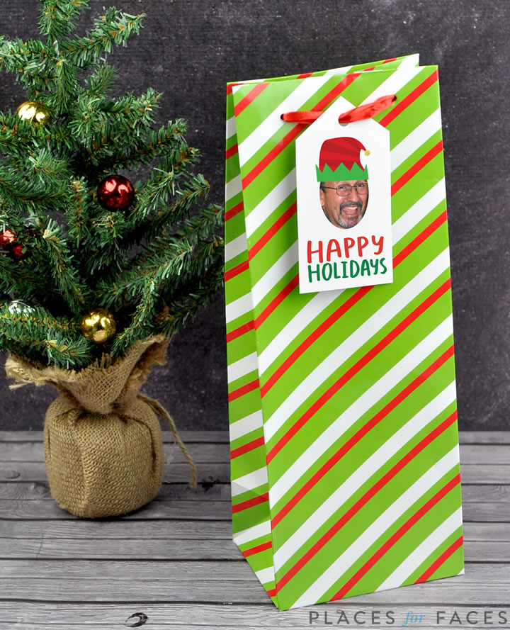 Personalize Your Christmas with Places for Faces | Vicky Barone | custom gift tags | hostess gift ideas | wine bottle tags