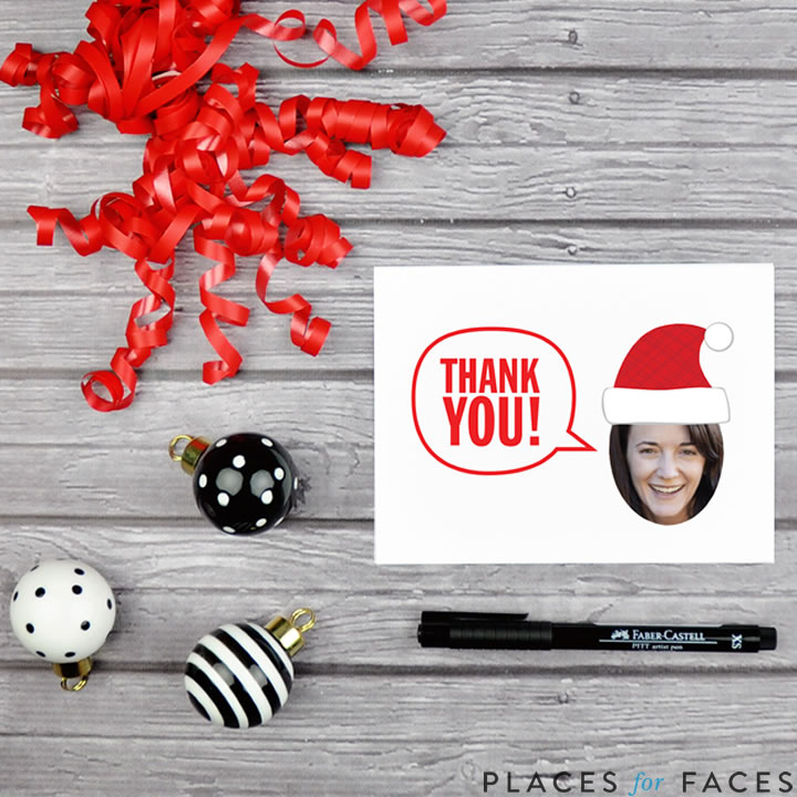 Personalize Your Christmas with Places for Faces | Vicky Barone | custom printable thank you cards