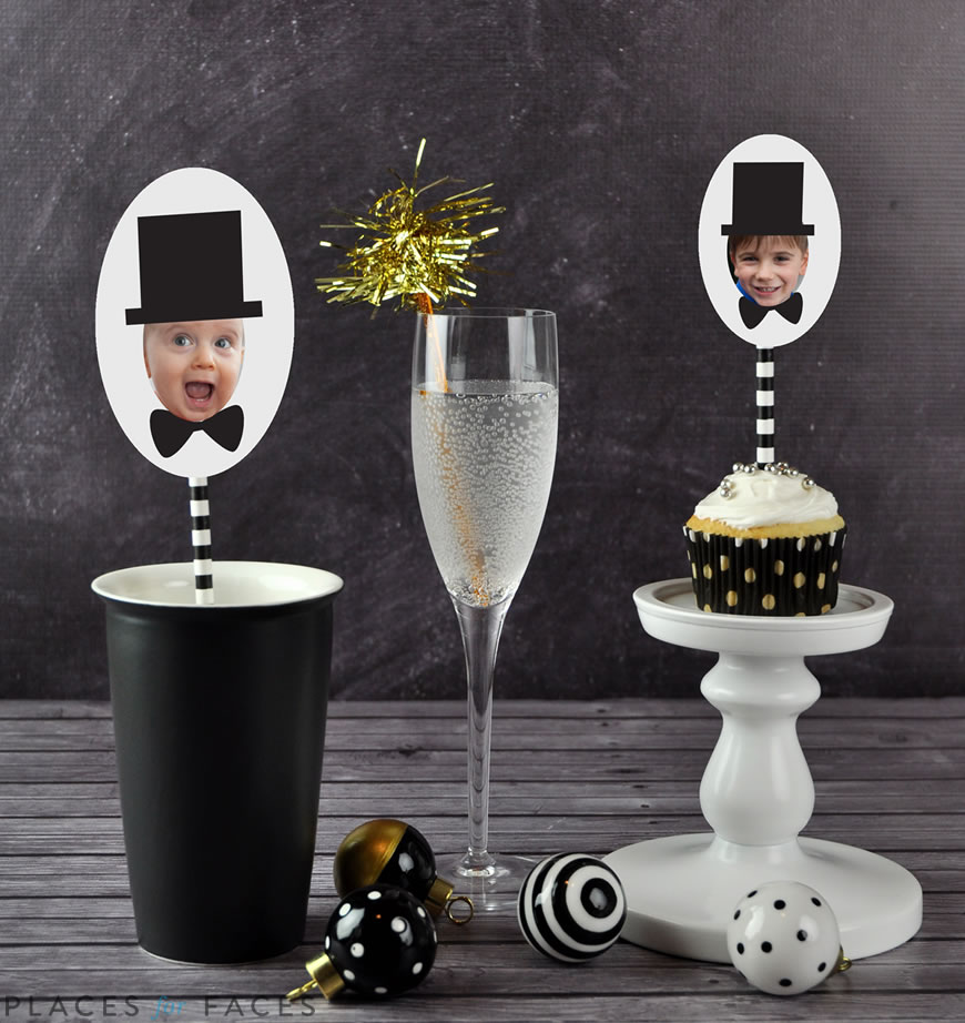 Happy New Year from Places for Faces | personalize your party with gift tags, cupcake toppers, swizzle sticks, personalized straws, and more!