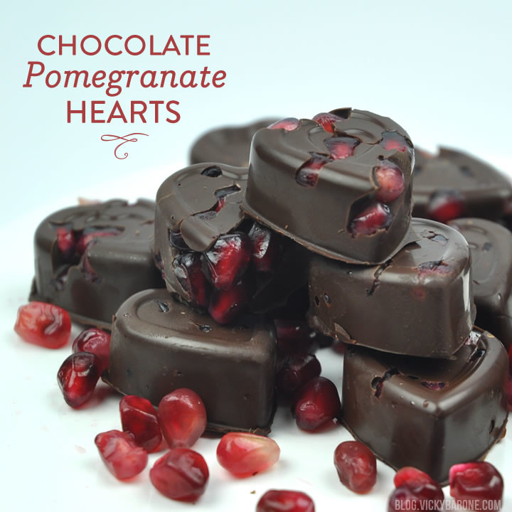 Dark Chocolate Pomegranate Hearts | Vicky Barone
