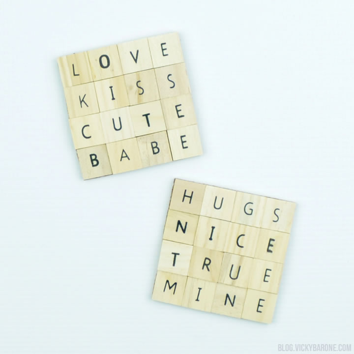 DIY Valentine's Day Coasters | Scrabble Letter Tiles | Vicky Barone