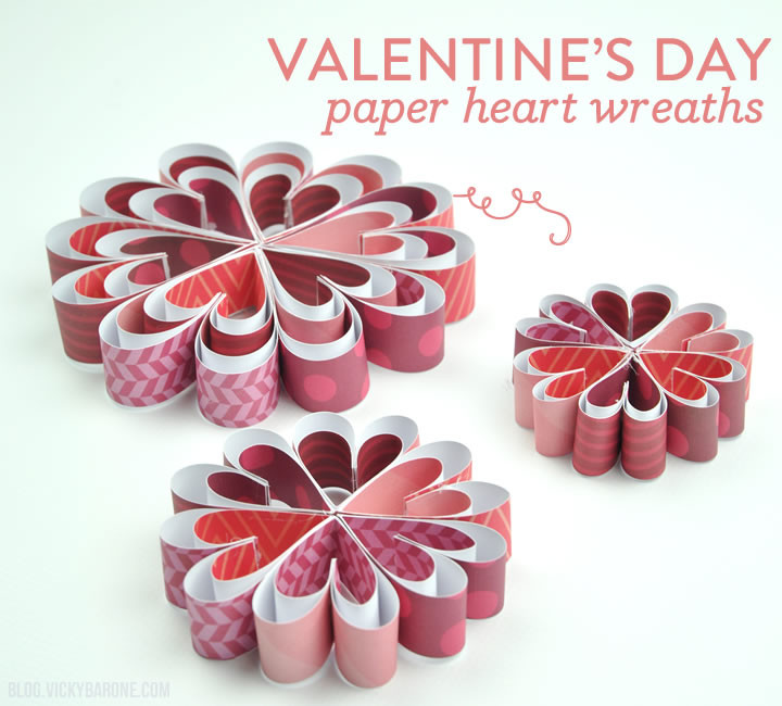 Valentine's Day Paper Heart Wreaths | Vicky Barone