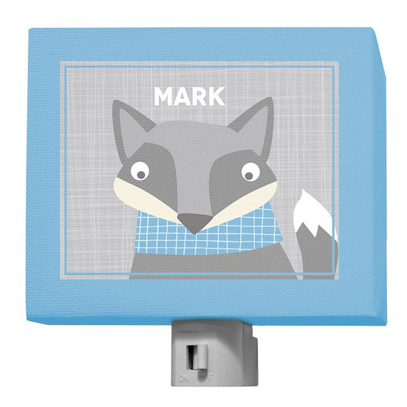 Happy Fox Gray and Blue Night Light