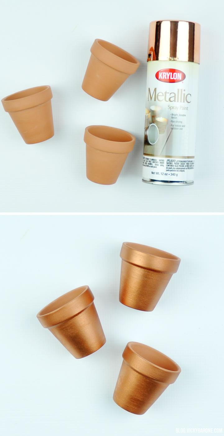 DIY Metallic Flower Pots | Vicky Barone