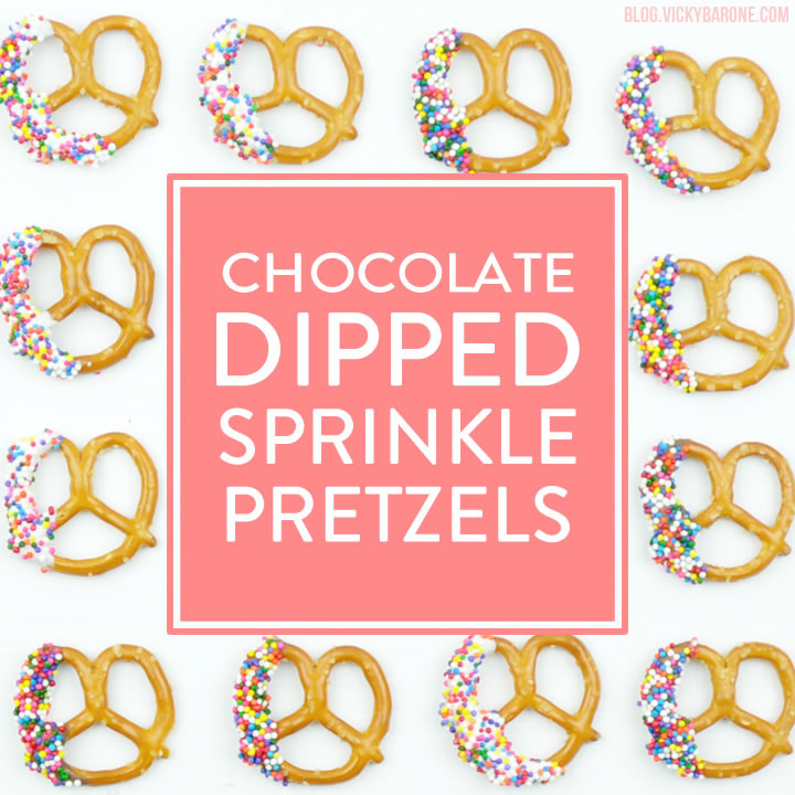 Chocolate Dipped Sprinkle Pretzels | Vicky Barone