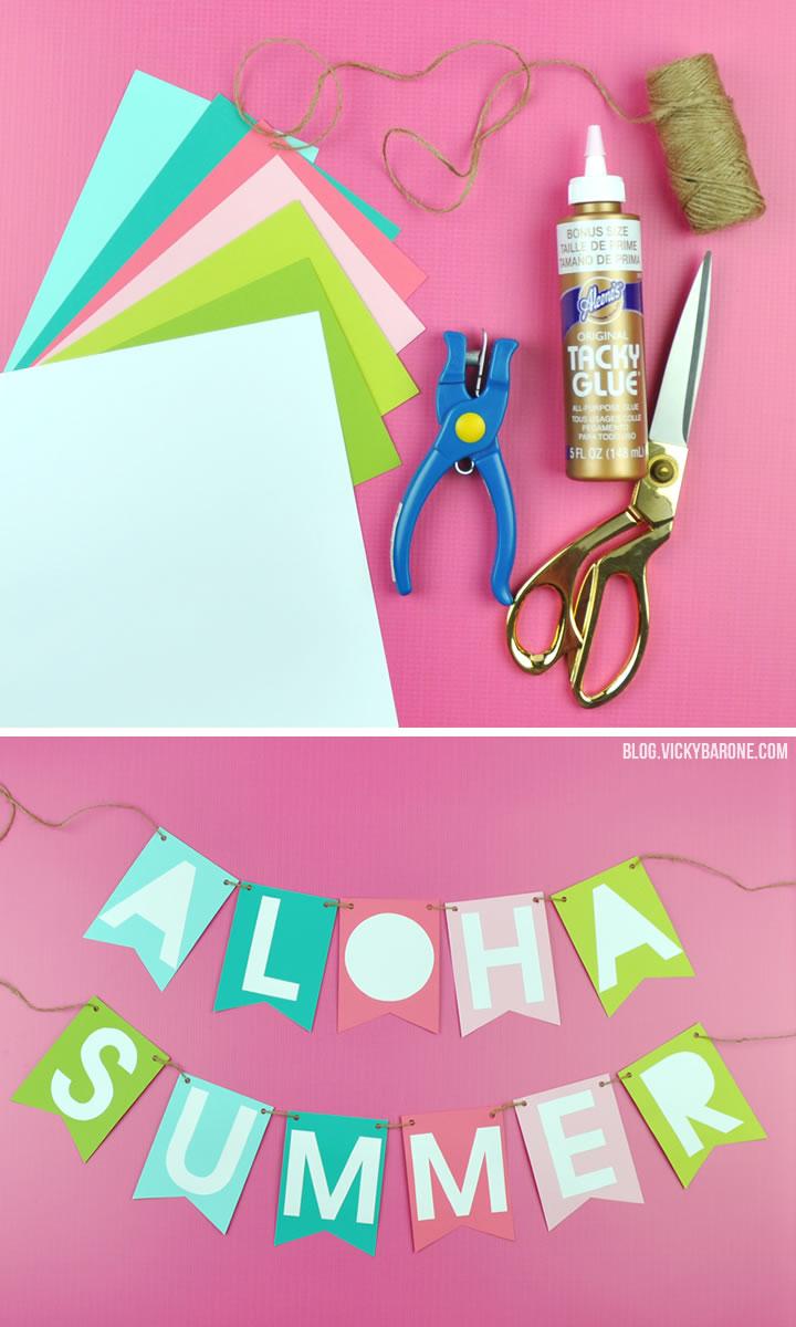 Aloha Summer | DIY Paper Banner | Vicky Barone