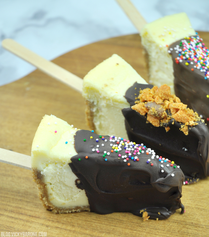 Chocolate Covered Cheesecake on a Stick | Vicky Barone
