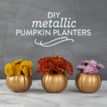 DIY Metallic Pumpkin Planters