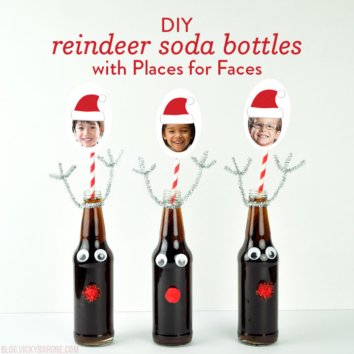 DIY Reindeer Soda Bottles with Places for Faces | Vicky Barone